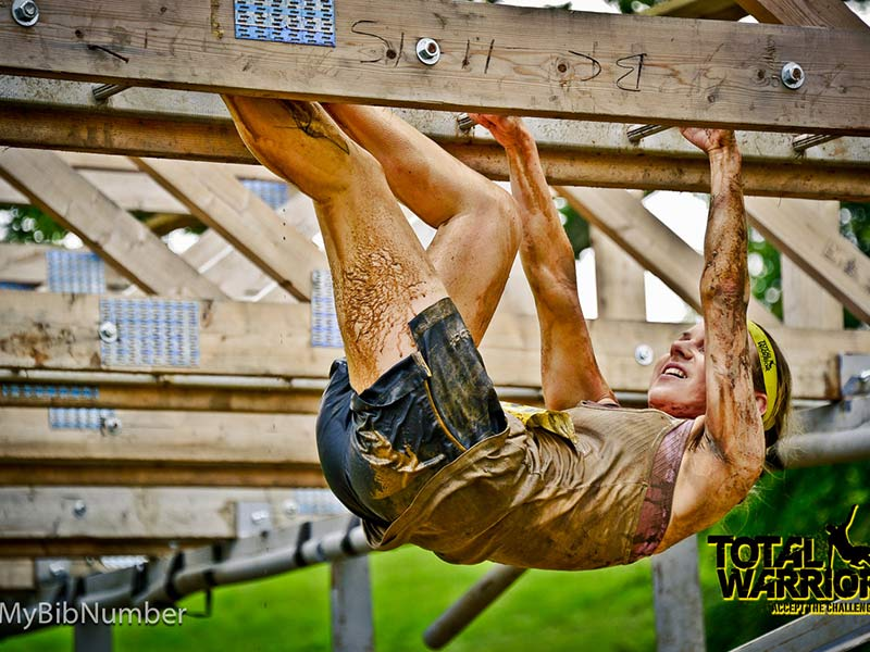 20ft long monkey bars across 4ft of water is not for the faint hearted. Even Warrior veterans can slip at this last obstacle.