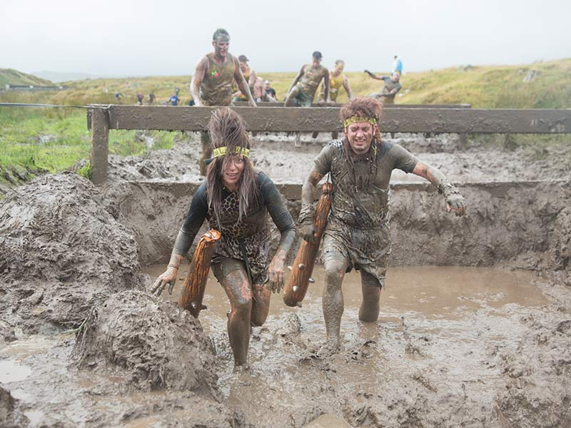 Jump over the waist-height fences into muddy water. Easy...