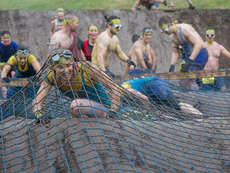 Mud mounds, tight nets and water equals tough. Get crawling!