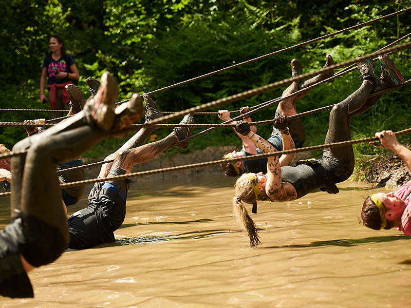 One rope. One you. One deep, muddy pool below! This is tough. Strong swimmers only!